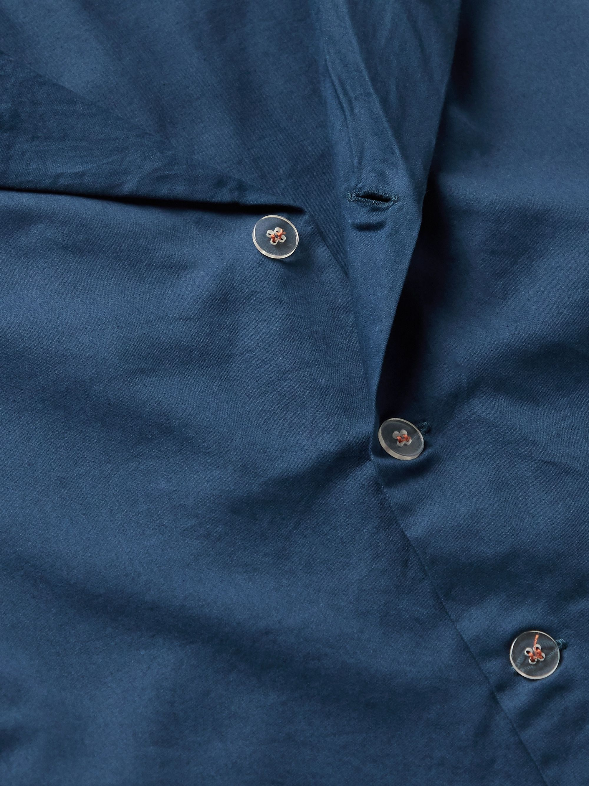 Navy Piped Garment-dyed Washed-cotton Pyjama Shirt | Cleverly Laundry