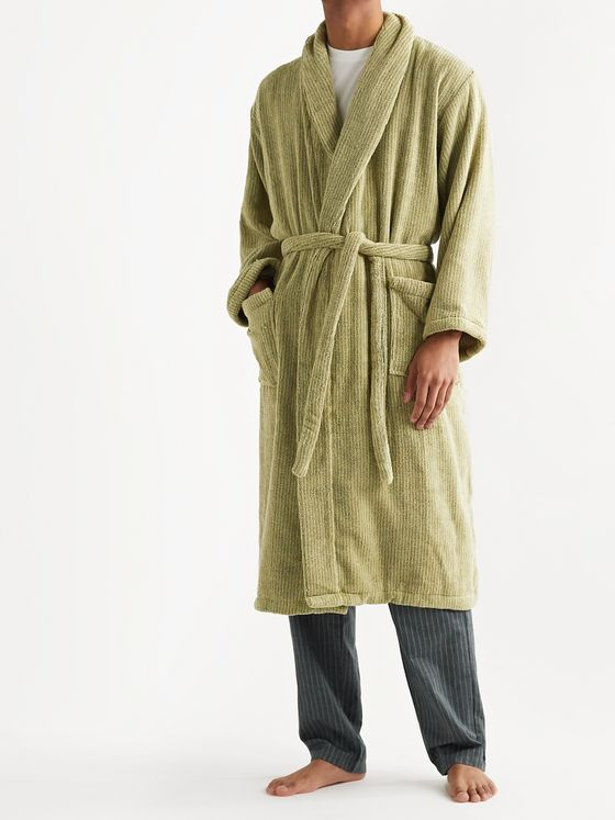Cleverly Laundry Pinstriped Cotton-Terry Robe