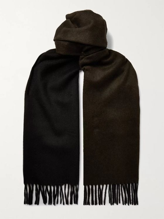 TOM FORD Fringed Two-Tone Double-Faced Cashmere Scarf