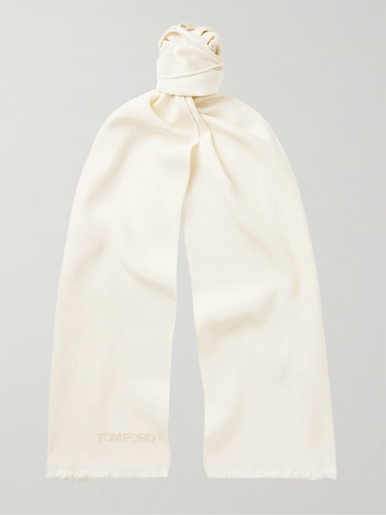 TOM FORD Fringed Logo-Embroidered Silk Scarf