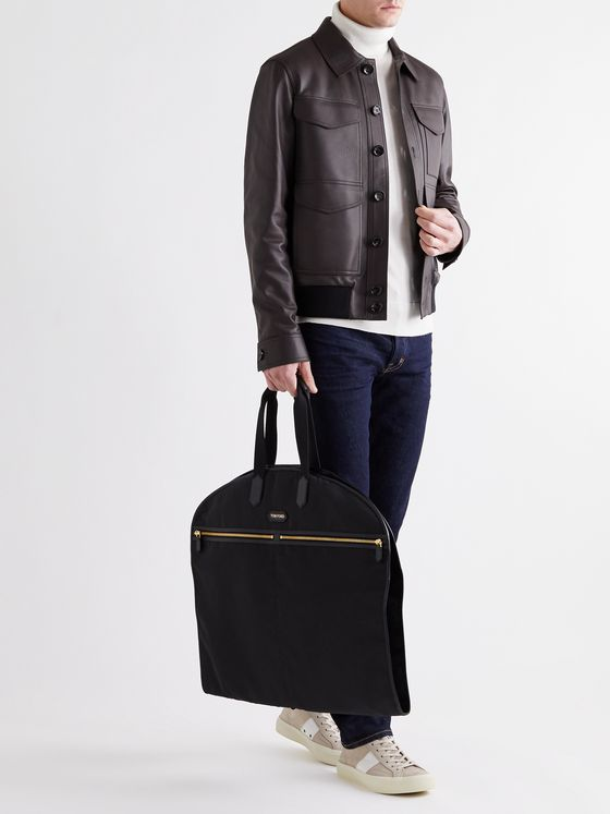 TOM FORD Leather-Trimmed Nylon Garment Bag