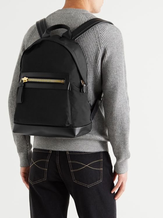 TOM FORD Leather-Trimmed Nylon Backpack