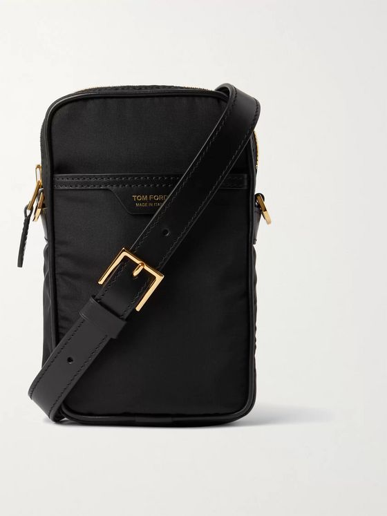 TOM FORD Leather-Trimmed Nylon Pouch
