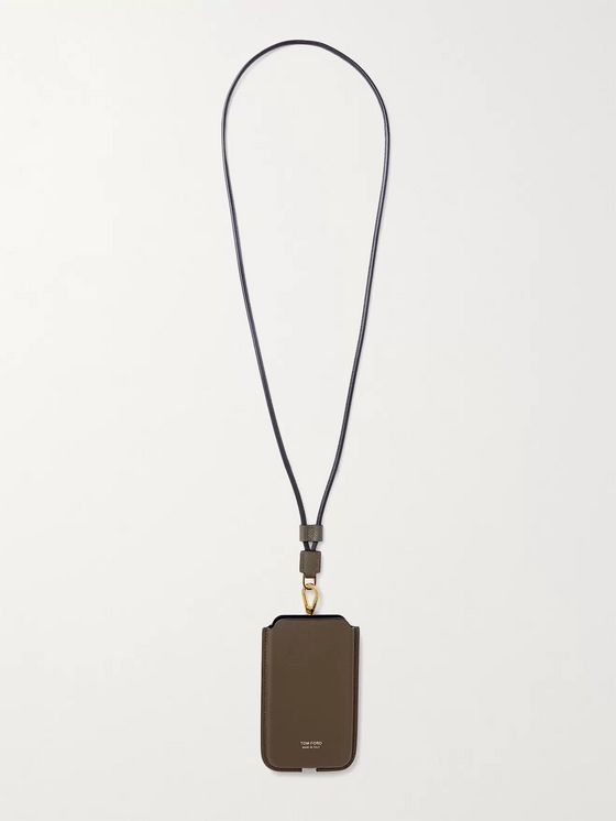 TOM FORD Full-Grain Phone Case with Lanyard