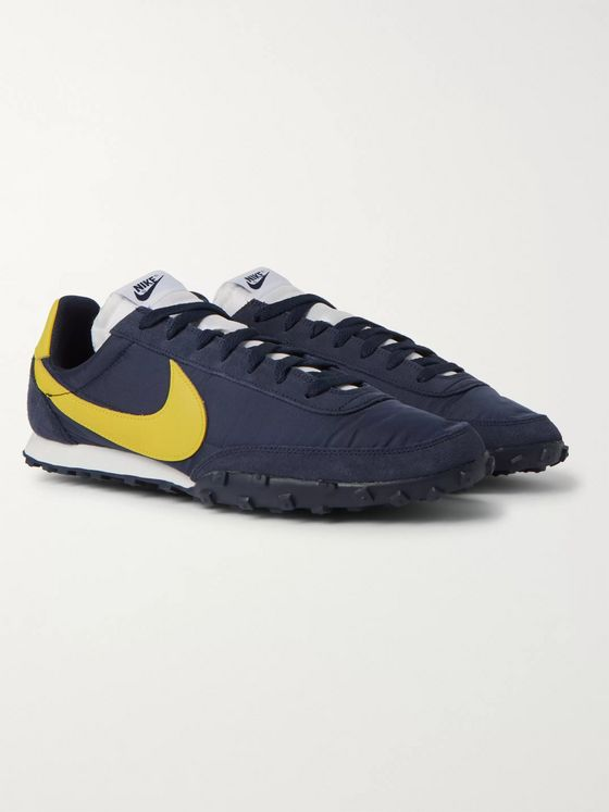 Nike Waffle Racer Leather-Trimmed Shell and Suede Sneakers