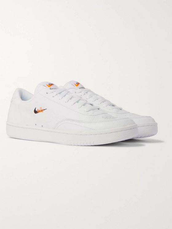 Nike Court Vintage Premium Logo-Embroidered Textured-Leather Sneakers