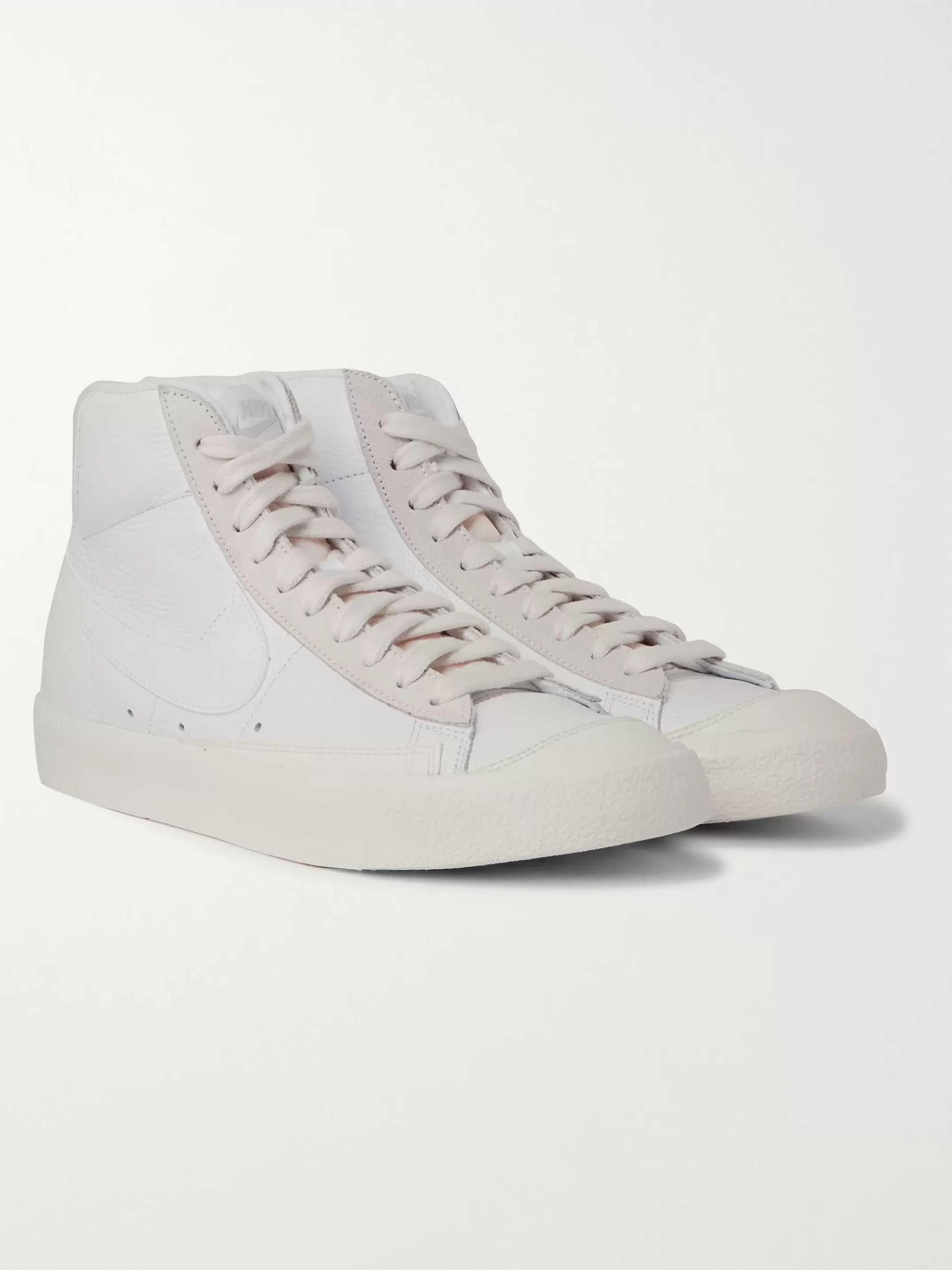 raíz Espectacular rápido  White Blazer Mid '77 Vintage Suede-Trimmed Leather High-Top Sneakers | Nike  | MR PORTER