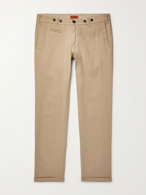 BARENA Stretch Linen and Cotton-Blend Trousers
