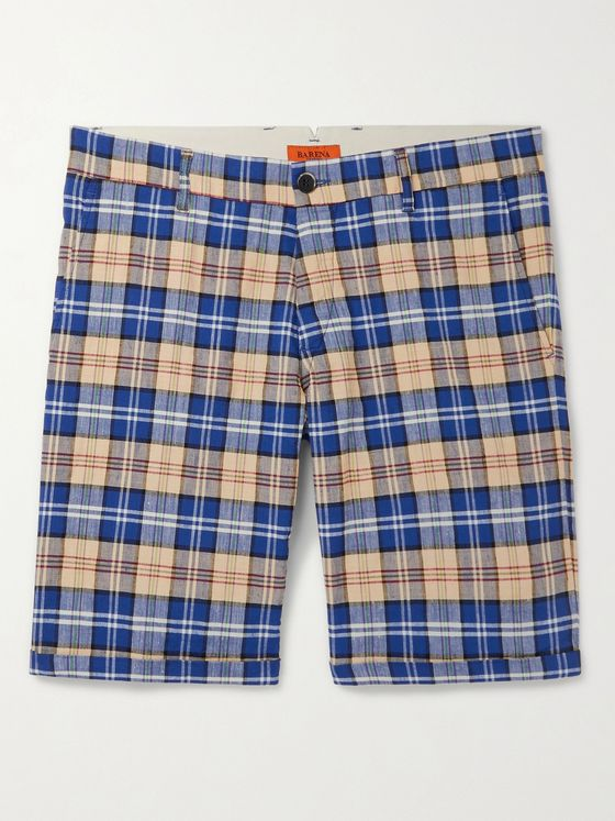 BARENA Checked Linen-Blend Shorts