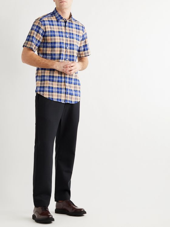 BARENA Checked Linen-Blend Shirt