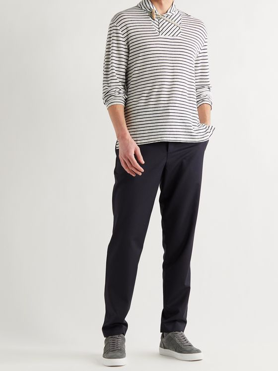 BARENA Shawl-Collar Striped Linen-Jersey T-Shirt