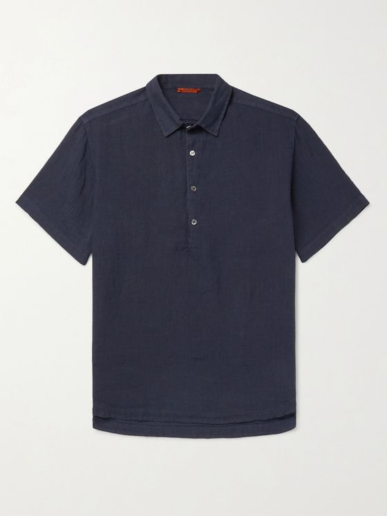 BARENA Garment-Dyed Linen Half-Placket Shirt