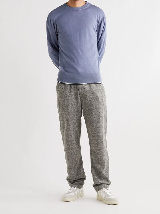 BARENA Tapered Mélange Cotton and Linen-Blend Sweatpants