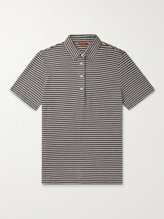 BARENA Striped Linen Polo Shirt
