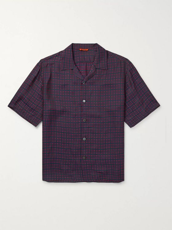 Barena Camp-Collar Checked Woven Shirt