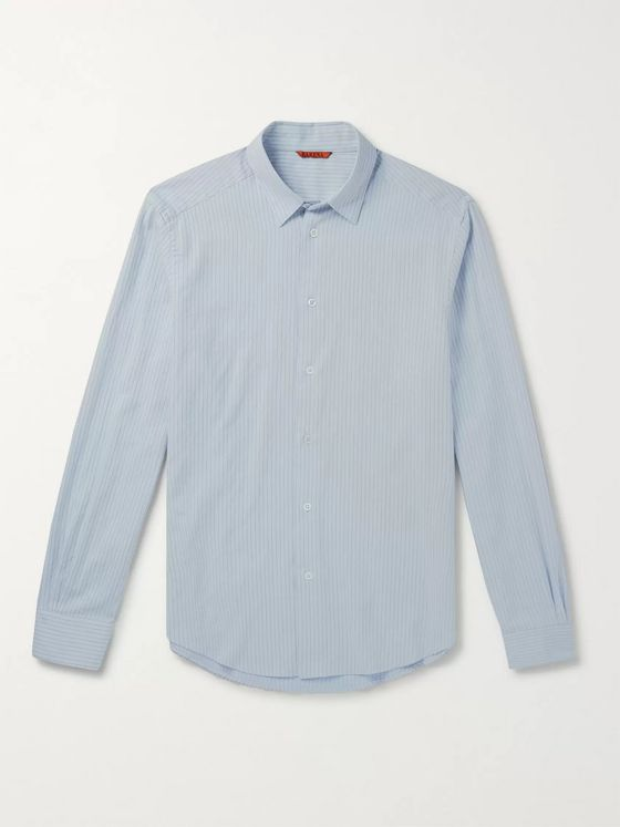 Barena Slim-Fit Pinstriped Cotton and Wool-Blend Shirt