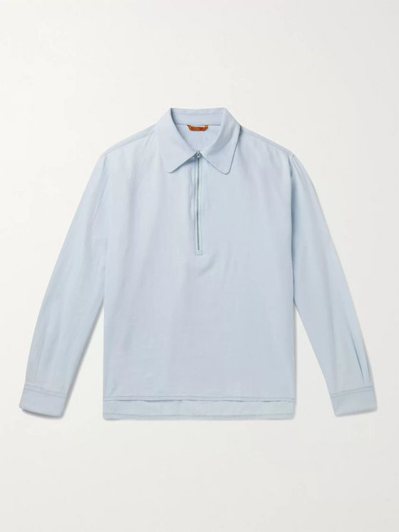 Barena Cotton-Chambray Half-Zip Shirt