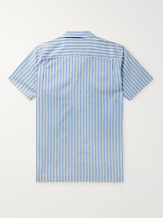 Orlebar Brown + 007 Thunderball Camp-Collar Striped Linen and Cotton-Blend Shirt