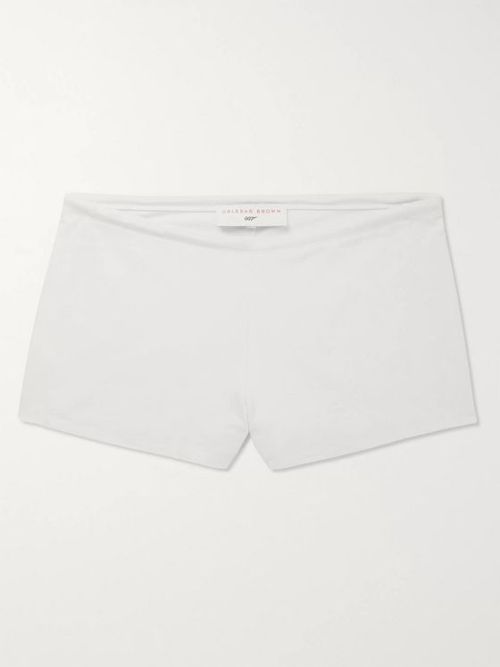 Orlebar Brown + 007 Thunderball Bassett Slim-Fit Short-Length Stretch-Piqué Swim Shorts