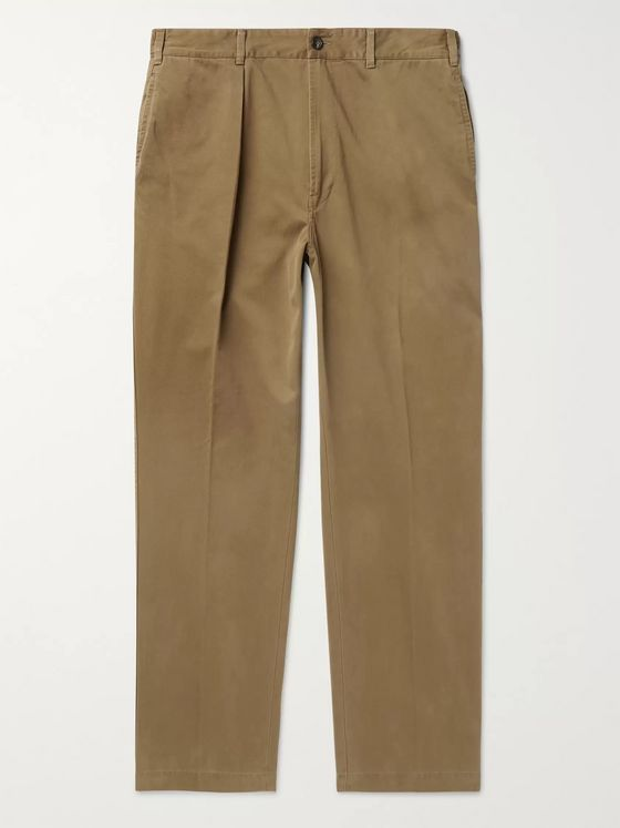 Drake's Pleated Cotton-Drill Trousers