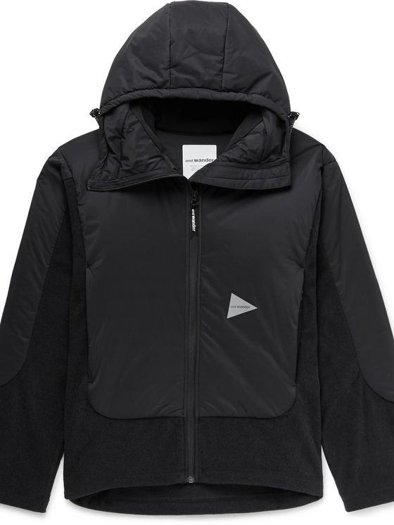 AND WANDER Panelled Padded Polartec Fleece and Pertex Nylon Hooded Jacket