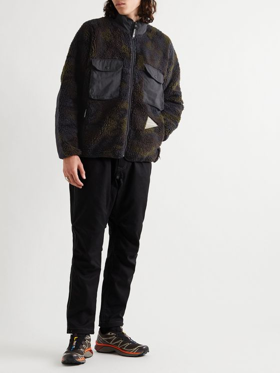 And Wander Boa Nylon-Trimmed Camouflage-Print Fleece Jacket