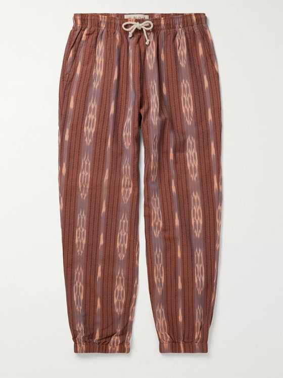 Mollusk Jeffrey Slim-Fit Cotton-Jacquard Drawstring Trousers