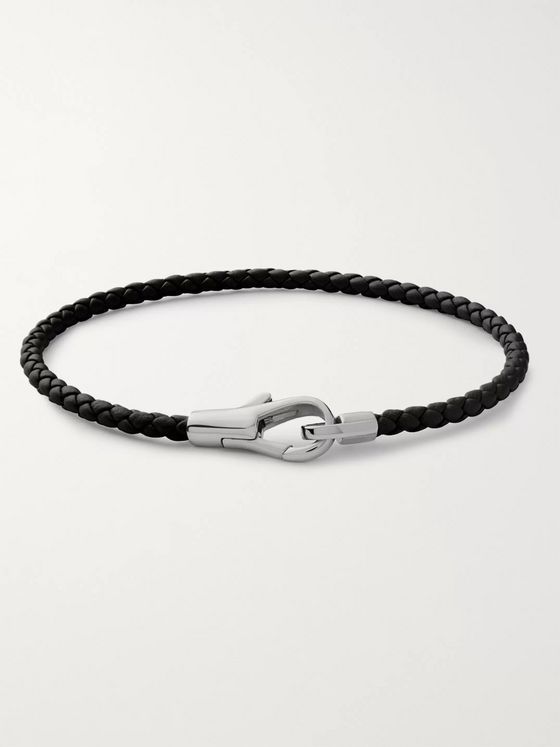 Miansai Knox Woven Leather and Sterling Silver Bracelet