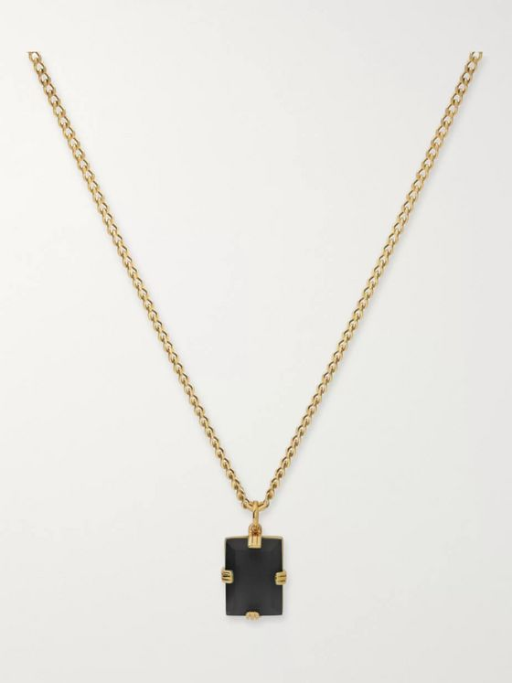 Miansai Lennox Gold-Plated and Onyx Necklace