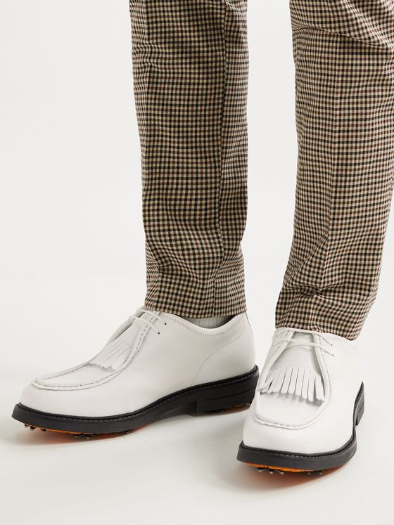 MR P. Pebble-Grain Leather Kiltie Derby Golf Shoes