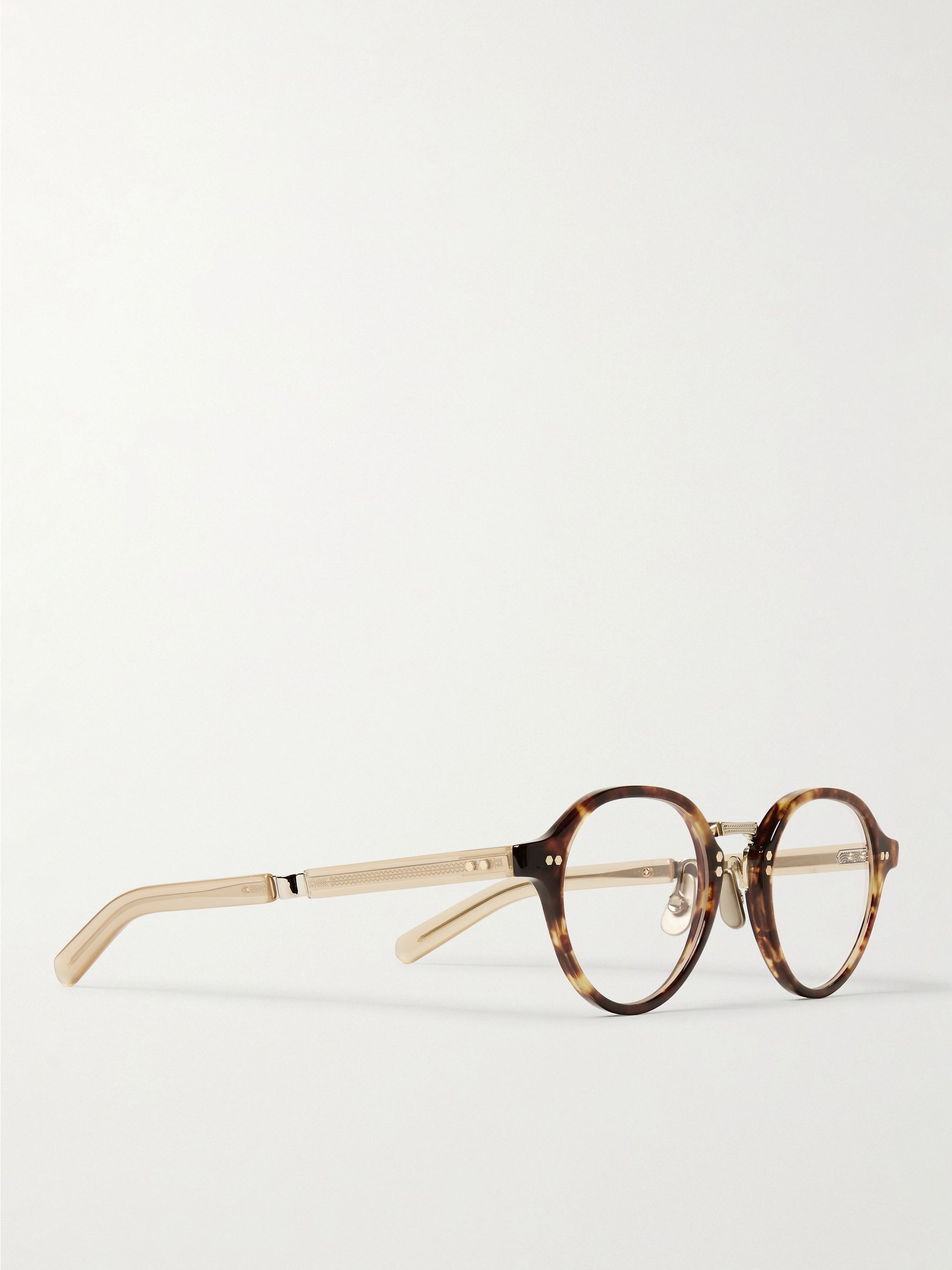 Mr Leight Stanley C Round-Frame Tortoiseshell Acetate and Gold-Tone Titanium Optical Glasses