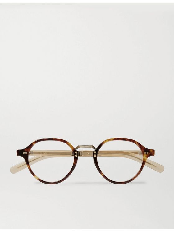 Mr Leight Spike C Round-Frame Tortoiseshell Acetate and Gold-Tone Titanium Optical Glasses
