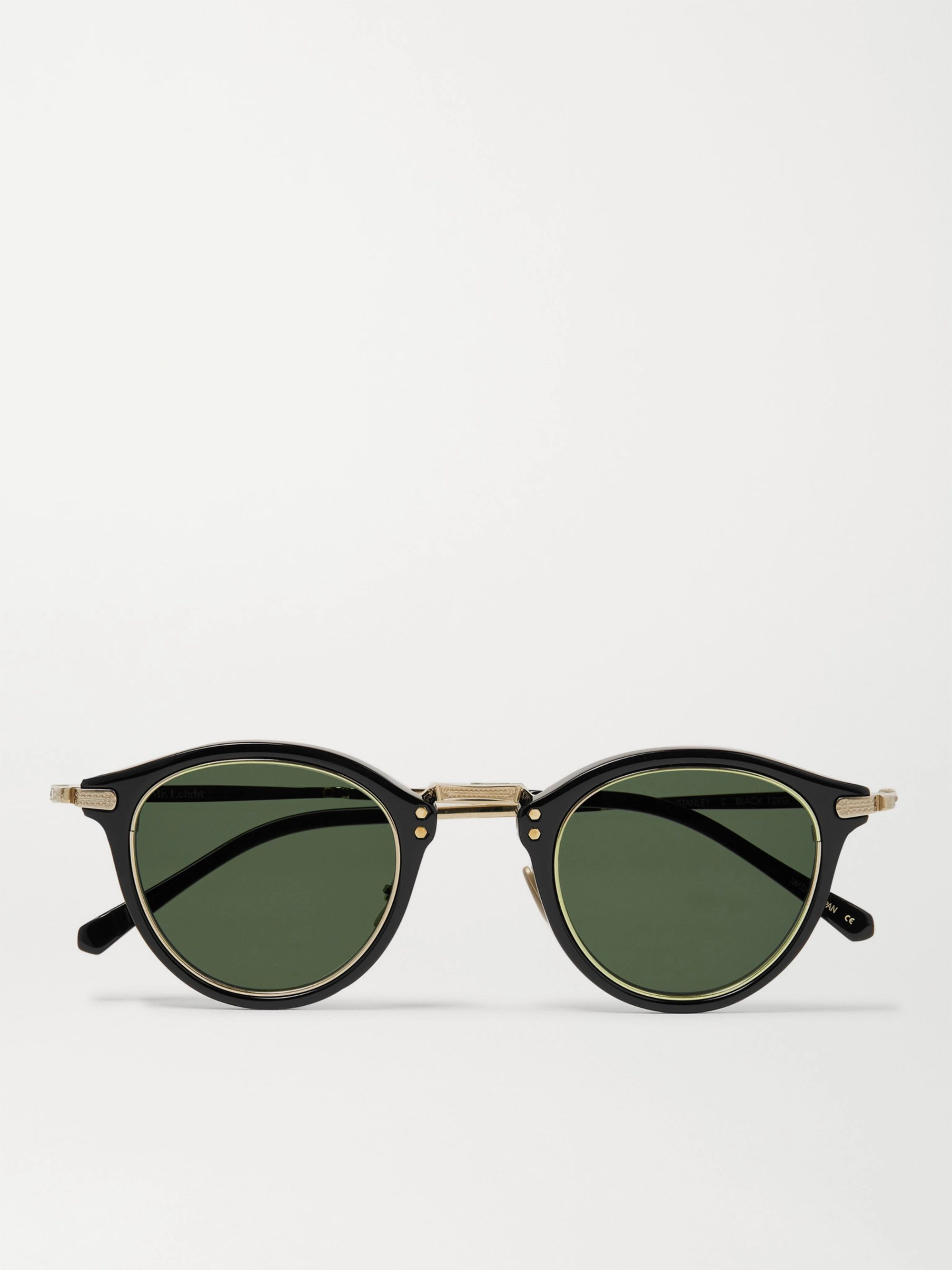Mr Leight Stanley S Round-Frame Acetate and Gold-Tone Titanium Sunglasses