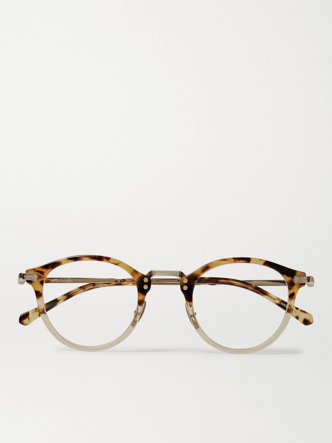 mr leight - stanley c round-frame tortoiseshell acetate and gold-tone titanium optical glasses - men - tortoiseshell