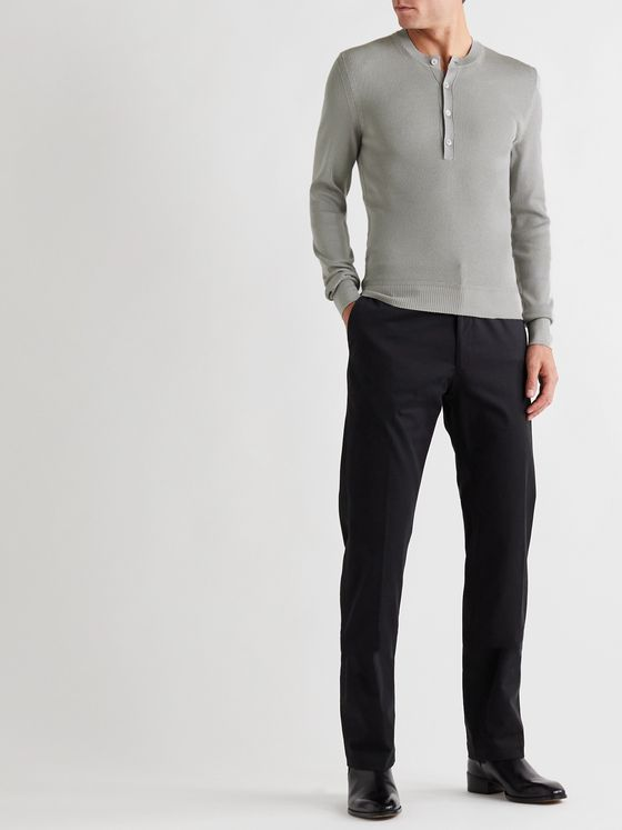 TOM FORD Slim-Fit Knitted Silk-Blend Half-Placket Sweater