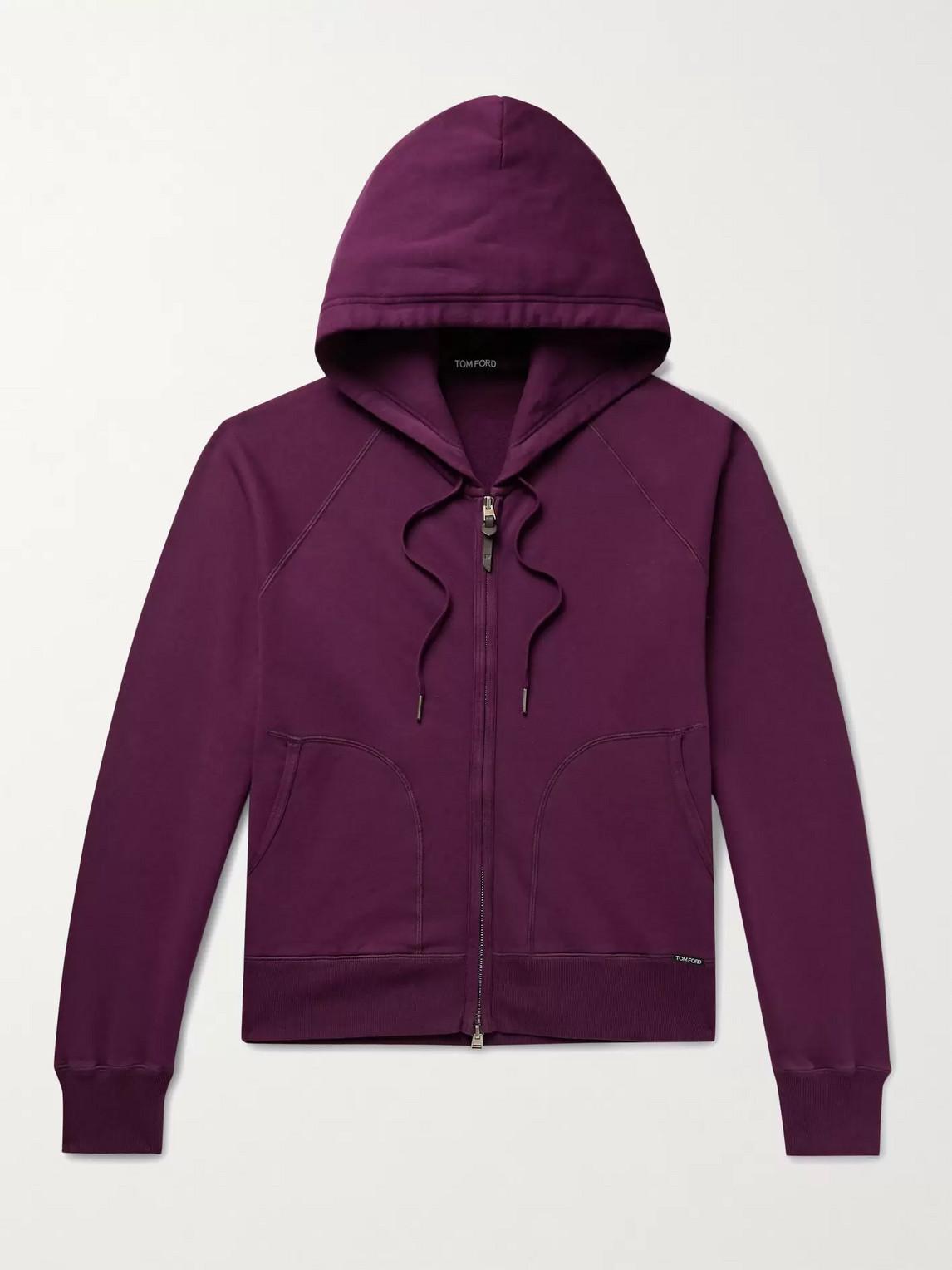 Tom Ford Fleece-back Cotton-jersey Zip-up Hoodie In Purple