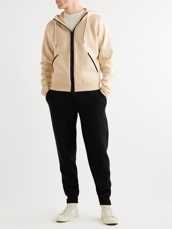 TOM FORD Leather-Trimmed Cashmere-Blend Zip-Up Hoodie