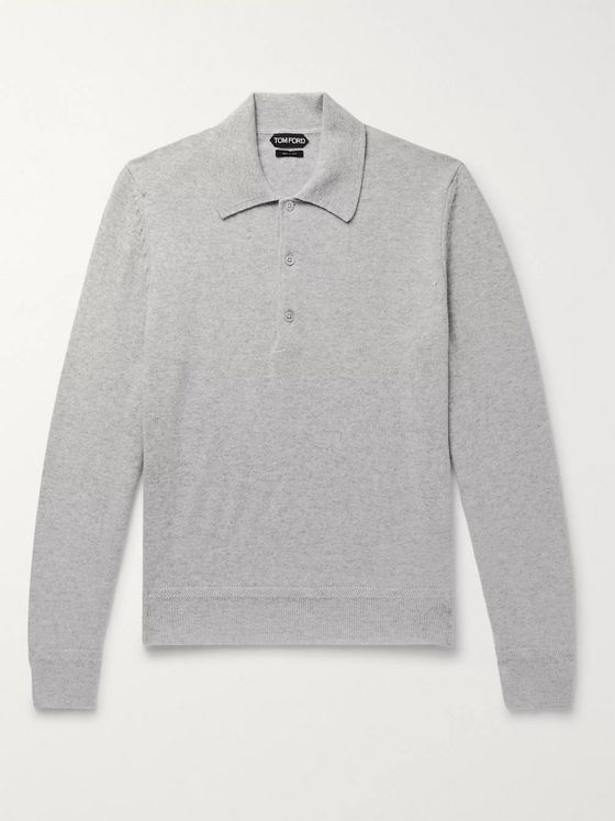TOM FORD Mélange Cashmere Polo Shirt