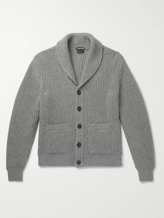 TOM FORD Slim-Fit Shawl-Collar Ribbed Cashmere and Mohair-Blend Cardigan