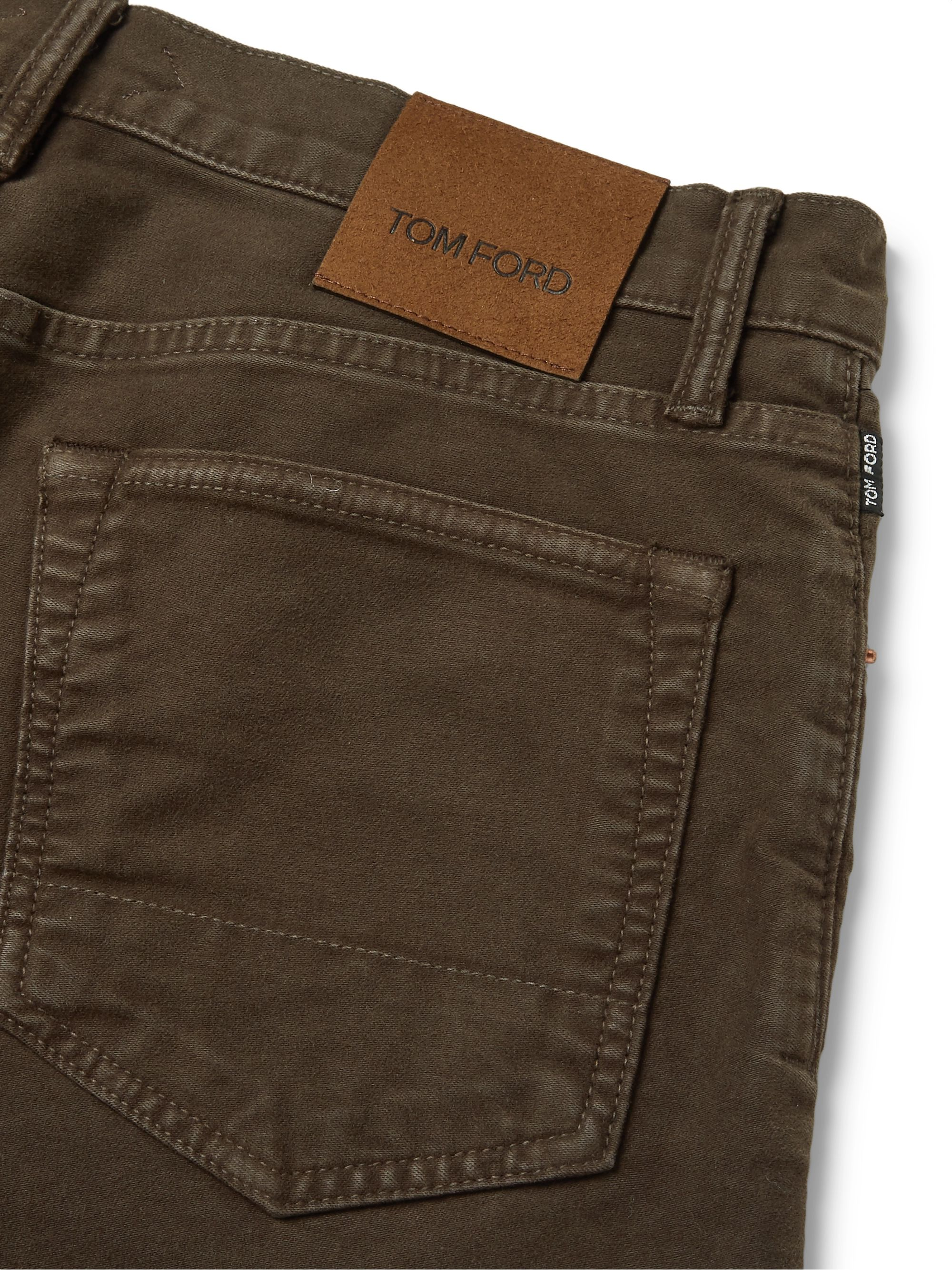 TOM FORD Slim-Fit Cotton-Blend Moleskin Trousers