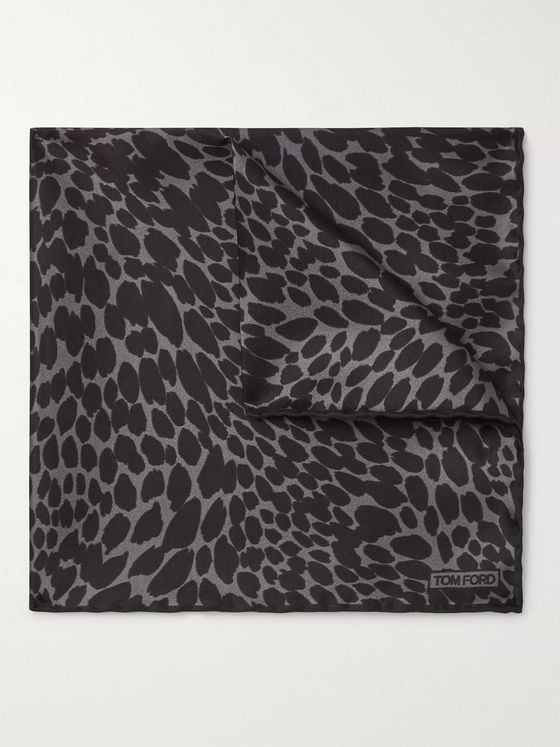 TOM FORD Leopard-Print Silk-Twill Pocket Square