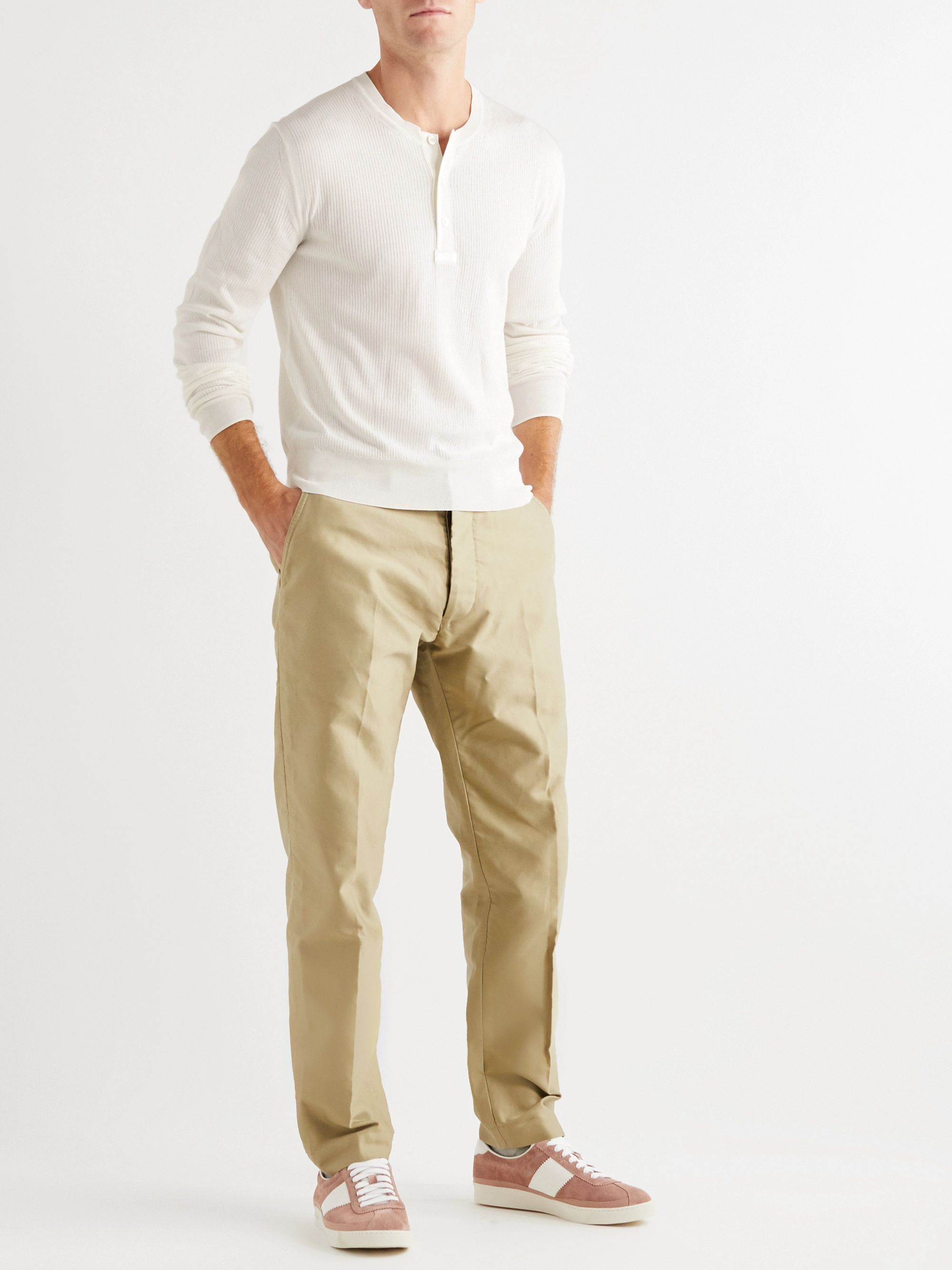 TOM FORD Slim-Fit Ribbed Cotton and Silk-Blend Henley T-Shirt