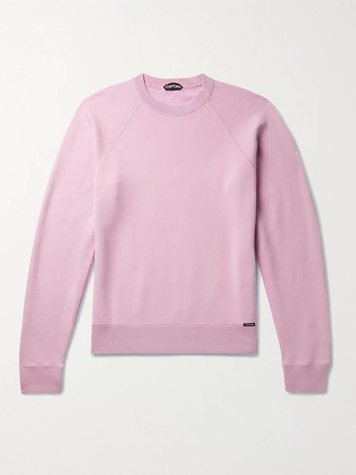 Tom Ford Fleece-back Cotton-jersey Sweatshirt In Pink