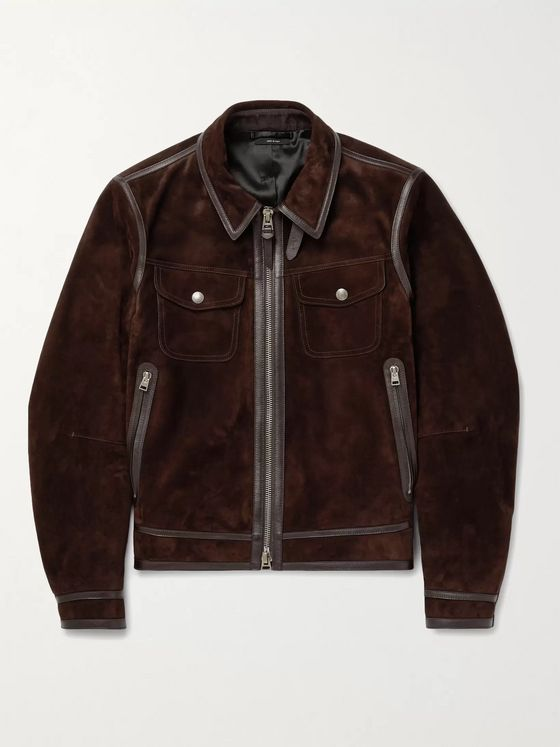 TOM FORD Slim-Fit Leather-Trimmed Suede Jacket