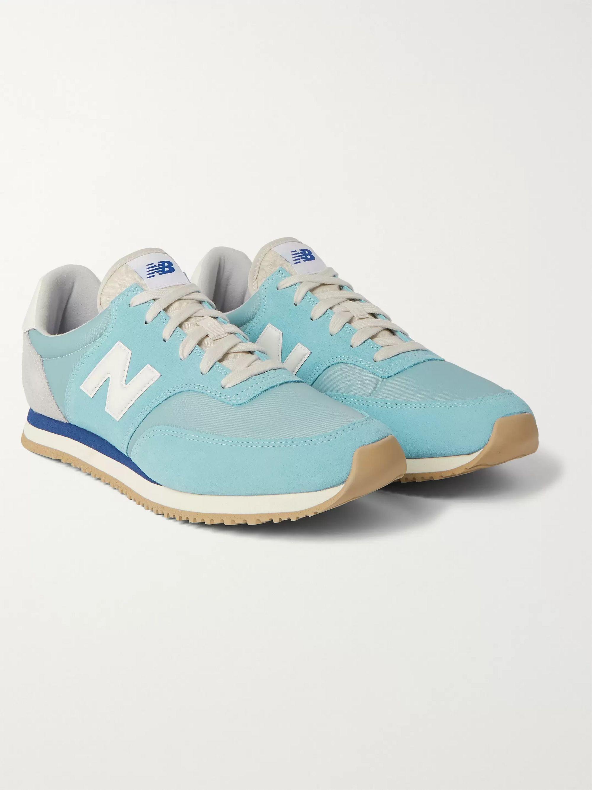 뉴발란스 New Balance Comp 100 Leather and Suede-Trimmed Shell Sneakers,Light blue