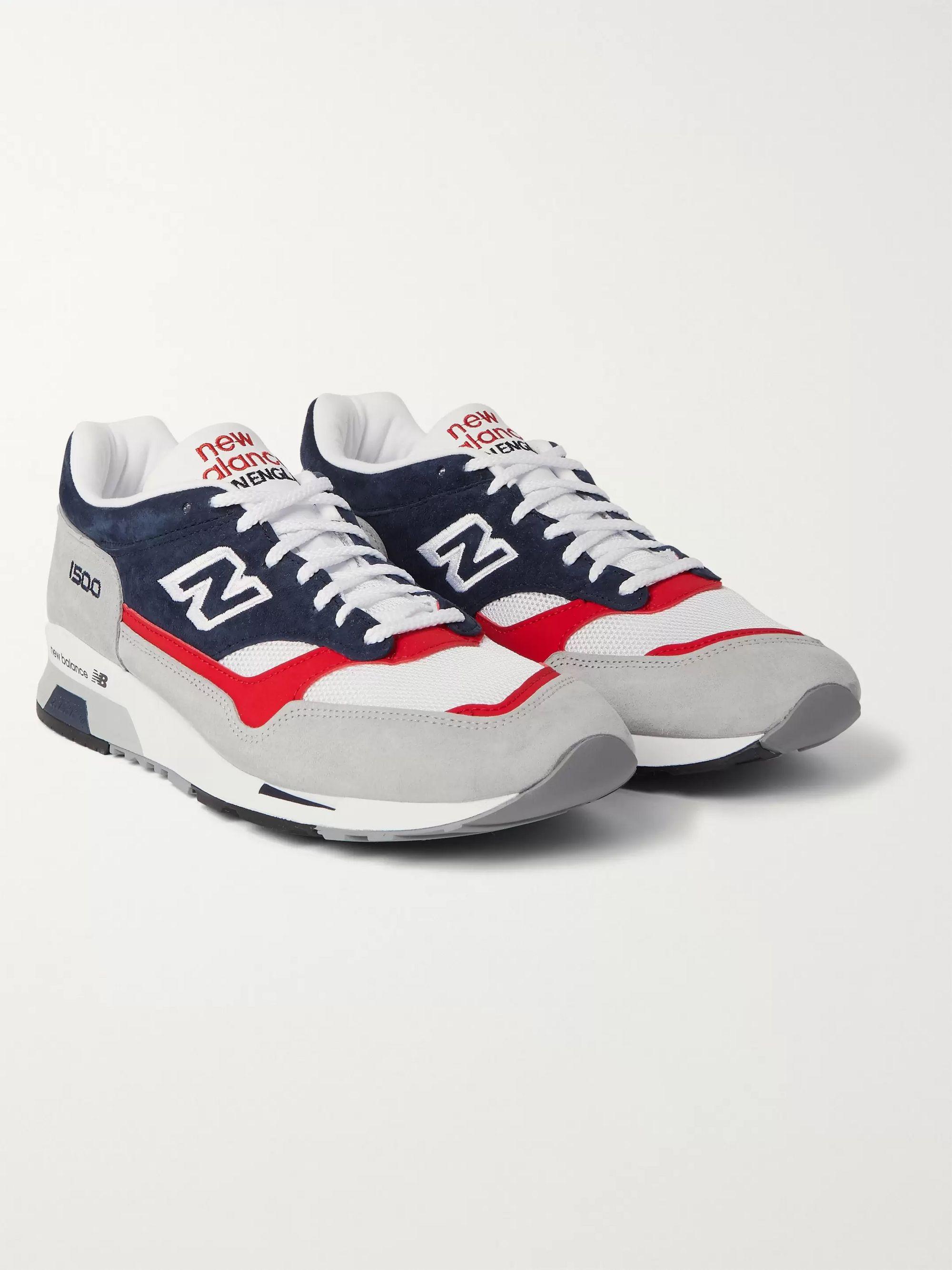 뉴발란스 New Balance M1500TBT Leather Suede and Mesh Sneakers,Gray
