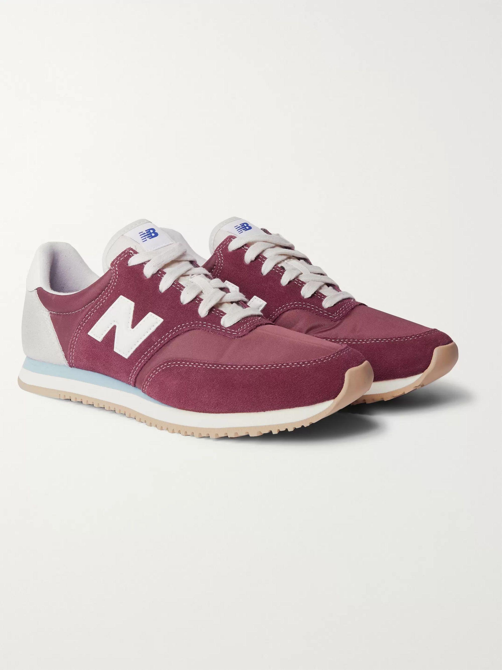 뉴발란스 New Balance Comp 100 Leather and Suede-Trimmed Shell Sneakers,Burgundy