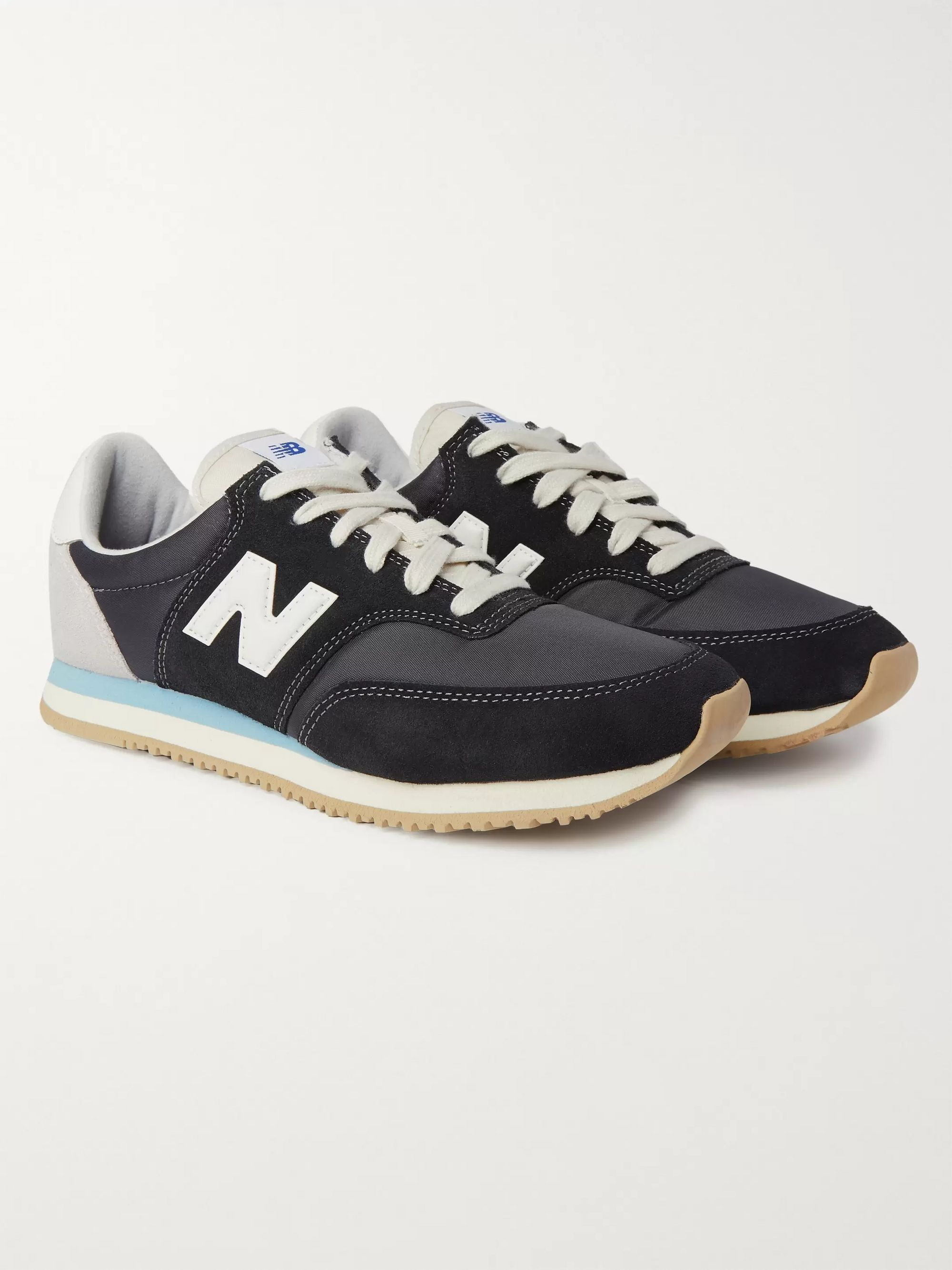 뉴발란스 New Balance Comp 100 Leather and Suede-Trimmed Shell Sneakers,Black
