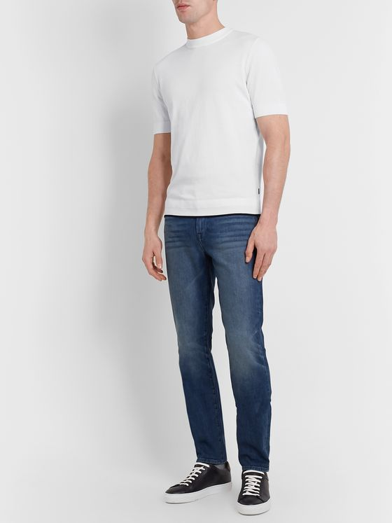 Hugo Boss Slim-Fit Contrast-Tipped Knitted Cotton T-Shirt