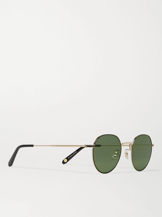 GARRETT LEIGHT CALIFORNIA OPTICAL Robson Round-Frame Gold-Tone Stainless Steel Sunglasses